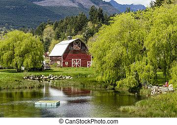 Brinnon Washington Barn by Pond - Little red barn reflecting...