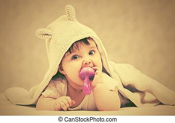 brinquedo, cobertor, bebê, lar, menina, tocando