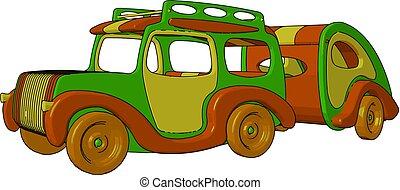 brinquedo, coloridos, cor, ilustração, vetorial, veículo, ou