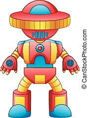 brinquedo, coloridos, isolado, robô, fundo, branca, caricatura