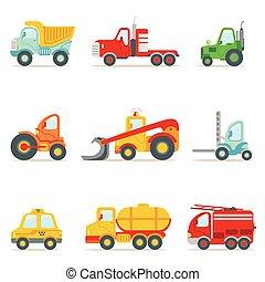 brinquedo, coloridos, trabalhando, ícones, carros, serviço, cobrança, público, construção, caricatura, estrada
