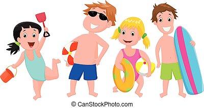 brinquedo, crianças, praia, ilustração, feliz
