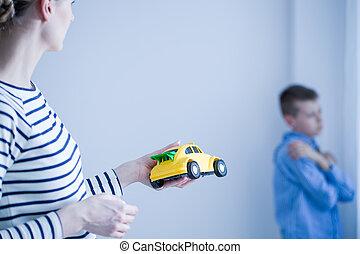 brinquedo, dela, dar, car, filho, mãe