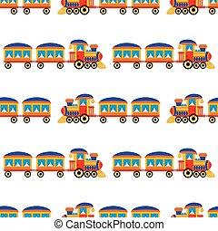 brinquedo, illustration., padrão, train., seamless, vapor, vetorial, menino, trem, caricatura