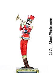 brinquedo, isolado, soldado, branca, trompete, tocando