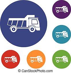 brinquedo, jogo, caminhão, ícones