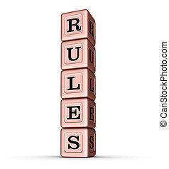 brinquedo, palavra, ouro, vertical, regras, rosa, sinal., metálico, blocks., pilha