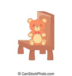 brinquedo, pelúcia, crianças, urso, sentando, cadeira
