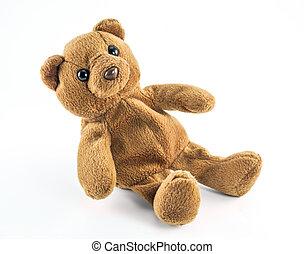 brinquedo, pelúcia, isolado, urso, fundo, branca
