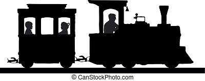 brinquedo, silueta, vagões, locomotiva, railway., trem, kids., vector., crianças, transporte