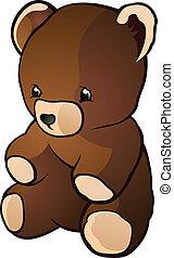 brinquedo, urso teddy, charac, retro, caricatura