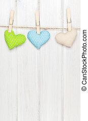 brinquedo, valentines, corda, penduradas, corações, dia