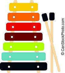brinquedo, varas, coloridos, xilofone, isolado, ícone