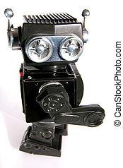 brinquedo velho, lata, robô