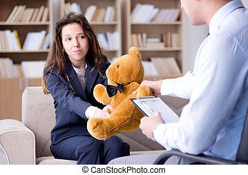 brinquedo, visita, urso, psicólogo, mulher, durante