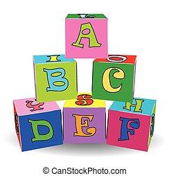 brinquedos, coloridos, letra, cubos
