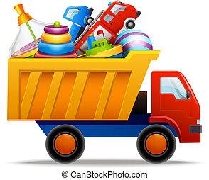 brinquedos, em, caminhão