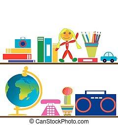 brinquedos, livros, prateleiras