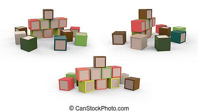 brinquedos, madeira, blocos coloridos, cubos