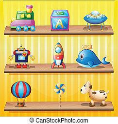 brinquedos, organizado, neatly, em, a, madeira, prateleiras