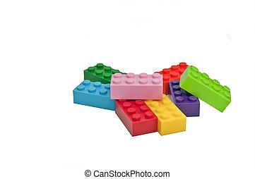 brinquedos, predios, plástico, blocks.