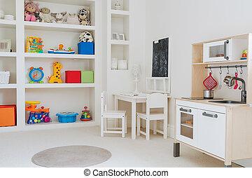 brinquedos, sala, beleza, criança
