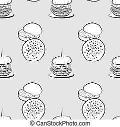 Brioche bun seamless pattern greyscale drawing. Useable for ...