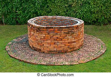 brique, ancien, puits