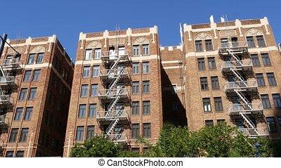brique, brûler, style, york, nouveau, bâtiment, propriété, ...