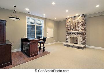 brique, cheminée, sous-sol