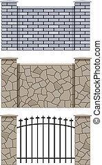 brique, clôture pierre
