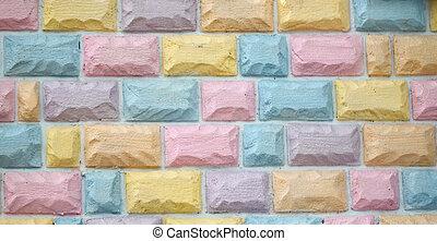 brique, coloré, wall.