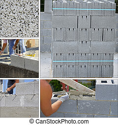 brique, construction, mur, béton, collage, -, site