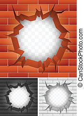 brique, fissure, wall.