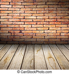 brique, floor., vieux, mur bois, rouges, intérieur