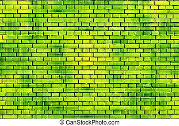 brique, fond, mur vert
