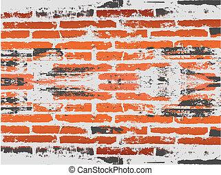 brique, grunge, arrière-plan rouge