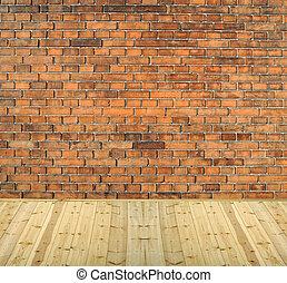 brique, intérieur, fond, bois, mur, plancher, vendange, salle, blanc