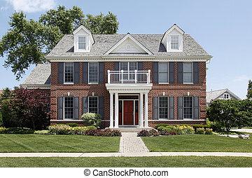brique, maison, à, devant, balcon