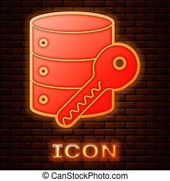 brique, néon, vecteur, serveur, illustration, icône, sécurité, sécurité, concept., clã©, isolé, mur, arrière-plan., sûreté protection, incandescent