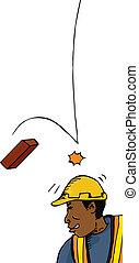 brique, ouvrier, chutes
