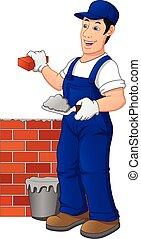 brique, ouvrier, construction, bâtiment, wall., homme, uniforme