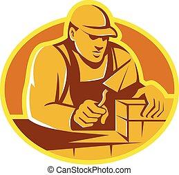 brique, ouvrier construction, couche, maçon