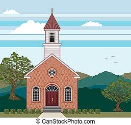 brique, paysage, église