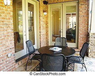brique, pierre, patio