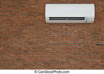 brique rouge, climatiseur, mur, fond, type, air