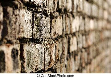brique, sélectif, vieux, mur, foyer