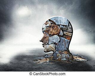 brique, silhouette, tête, humain