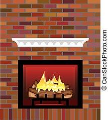 brique, vecteur, cheminée