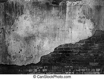 brique, vieux, mur, béton